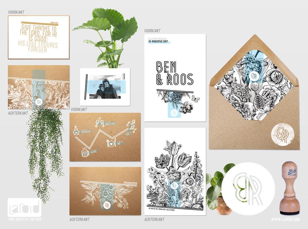 Uniek trouwkaartjes ontwerp wit printen
