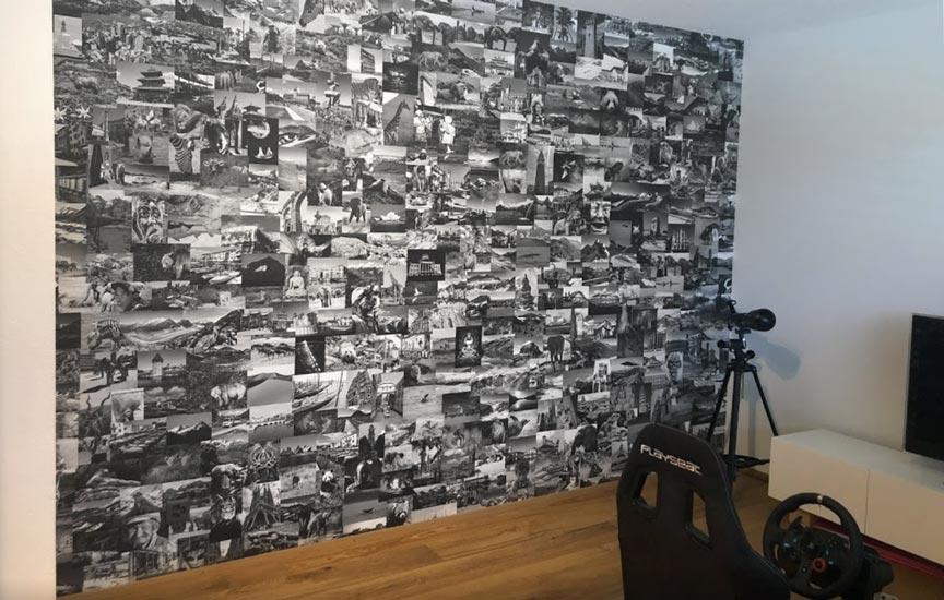 Foto collage behang maatwerk